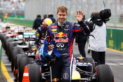 Pole sitter Sebastian Vettel, Red Bull Racing RB9 celebrates in parc ferme