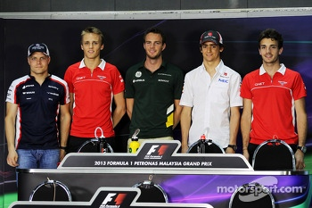 FIA Press Conference: Valtteri Bottas, Williams; Max Chilton, Marussia F1 Team; Giedo van der Garde, Caterham F1 Team; Esteban Gutierrez, Sauber; Jules Bianchi, Marussia F1 Team