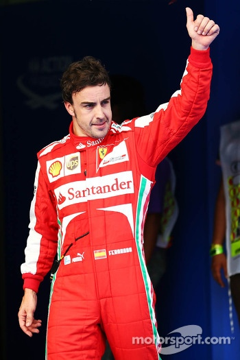 Fernando Alonso, Ferrari celebrates his third position in qualifying parc ferme
