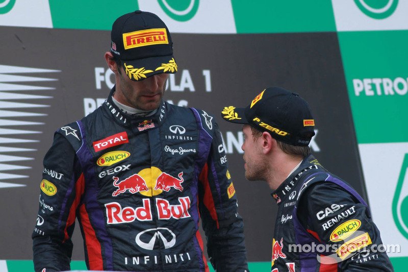 Podium: race winner Sebastian Vettel, Red Bull Racing, second place Mark Webber, Red Bull Racing