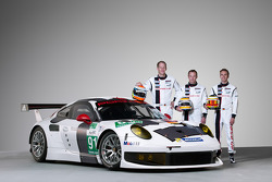 Jörg Bergmeister, Patrick Pilet and Timo Bernhard with the Porsche 911 RSR