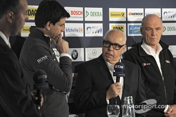 Torger Christian Toto Wolff, Sporting Director Mercedes-Benz, Hans Werner Aufrecht, Chairman of DTM, Dr. Wolfgang Ullrich, Head of Audi Sport,  09.04.2013, DTM Media Day, Hockenheim, Germany, Tuesday.  - www.xpbimages.com, EMail: requests@xpbimages.com -