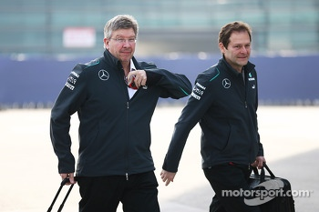 Ross Brawn, Mercedes AMG F1 Team Principal with Aldo Costa, Mercedes AMG F1 Engineering Director