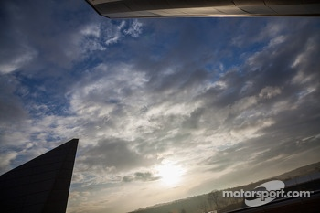 Sun breaking through the clouds at Silverstone
