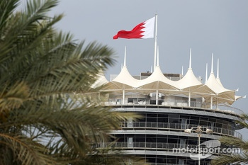 Bahrain flag and building