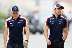(L to R): Valtteri Bottas, Williams with team mate Pastor Maldonado, Williams FW35