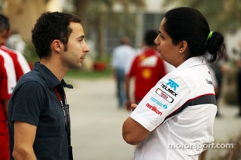 (L to R): Nicolas Todt, Driver Manager with Monisha Kaltenborn, Sauber Team Principal