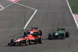 Jules Bianchi, Marussia F1 Team MR02 leads Charles Pic, Caterham CT03 and Max Chilton, Marussia F1 Team MR02