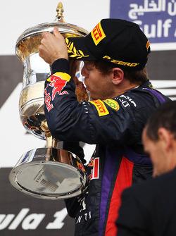 Race winner Sebastian Vettel, Red Bull Racing celebrates on the podium