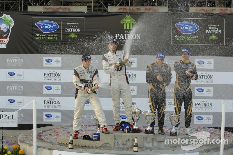 P1 podium: winners Klaus Graf, Lucas Luhr, second place Neel Jani, Nick Heidfeld