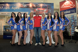 Press conference in Bratislava, James Thompson Lada Granta, LADA Sport Lukoil and girls