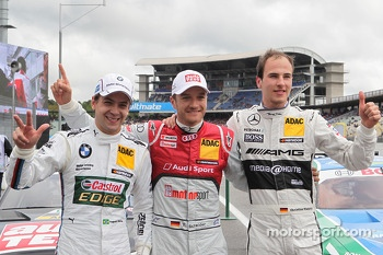 Second place Augusto Farfus Jr., BMW Team RBM BMW M3 DTM, pole winner Timo Scheider, Audi Sport Team Abt Audi RS 5 DTM, third place Christian Vietoris, Mercedes AMG DTM-Team HWA DTM Mercedes AMG C-Coupé