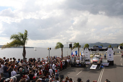 Podium: winners Sébastien Loeb and Daniel Elena, Citroën DS3 WRC, Citroën Total Abu Dhabi World Rally Team, second place Sébastien Ogier and Julien Ingrassia, Volkswagen Polo WRC, Volkswagen Motorsport, third place Jari-Matti Latvala and Miikka Anttila