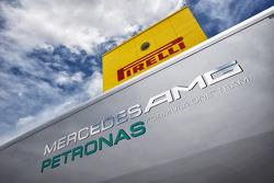 Mercedes AMG F1 and Pirelli logos