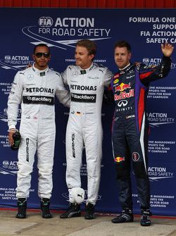 Qualifying top three in parc ferme, Mercedes AMG F1, second; Nico Rosberg, Mercedes AMG F1, pole position; Sebastian Vettel, Red Bull Racing, third