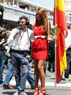 Will Buxton, NBS Sports Network TV Presenter with a grid girl
