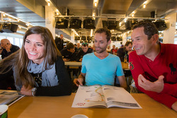 Cyndie Allemann, Sven Hannawald and Thorsten Drewes share a laugh