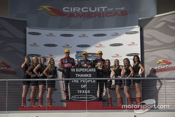 Race winner Jamie Whincup, second place Fabian Coulthard, third place Shane van Gisbergen