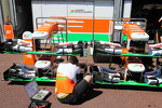 Sahara Force India F1 VJM06 nosecones prepared by a mechanic
