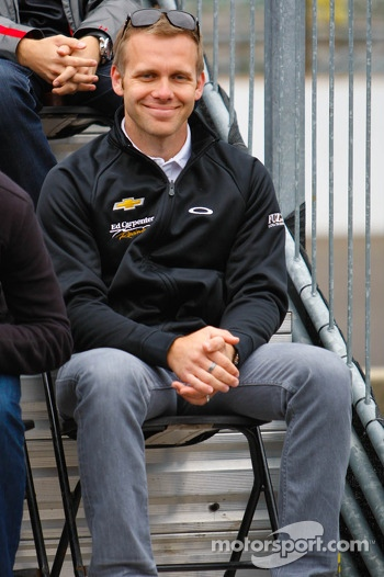 Ed Carpenter at the drivers meeting