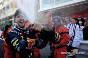 Sebastian Vettel, Red Bull Racing celebrates on the podium