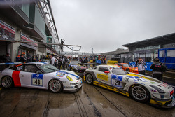 #21 Rowe Racing Mercedes-Benz SLS AMG GT3 (SP9): Marko Hartung, Kenneth Heyer, Christian Hohenadel, Roland Rehfeld and #48 Roadrunner Racing Porsche GT3 Cup (SP7): Fabrice Reicher, Patrick Ancelet, Daniel Dupont, Alain Giavedoni