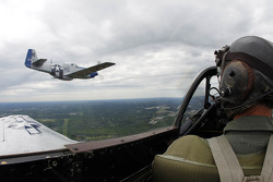 Pre-race flight over the Charlotte area with historical fighter planes