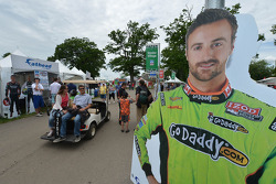 A life-size poster of James Hinchcliffe