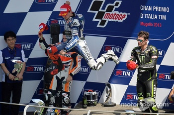 Race winner Jorge Lorenzo, second place Dani Pedrosa, third place Cal Crutchlow