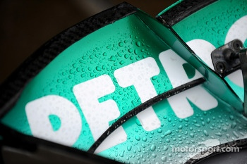 Rain on the Mercedes AMG F1 front