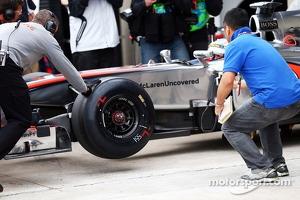 Jenson Button, McLaren MP4-28 running the Pirelli development tyre
