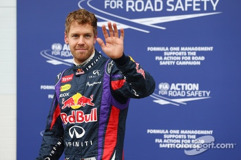 Sebastian Vettel, Red Bull Racing celebrates his pole position in parc ferme