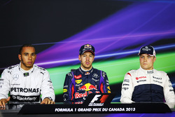 Polesitter Sebastian Vettel, Red Bull Racing, second place Lewis Hamilton, Mercedes AMG F1, third place Valtteri Bottas, Williams F1 Team