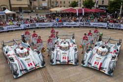 #1 Audi Sport Team Joest Audi R18 e-tron quattro: Marcel Fässler, Andre Lotterer, Benoit Tréluyer; #2 Audi Sport Team Joest Audi R18 e-tron quattro: Tom Kristensen, Allan McNish, Loic Duval; #3 Audi Sport Team Joest Audi R18 e-tron quattro: Marc Gene, Oli