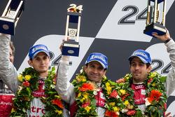 LMP1 podium: third place Marc Gene, Oliver Jarvis, Lucas di Grassi