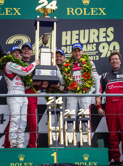 LMP1 podium: class and overall winners Tom Kristensen, Allan McNish, Loic Duval