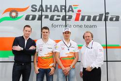 Jordy Cobelens, CEO TW Steel with Paul di Resta, Sahara Force India F1; Adrian Sutil, Sahara Force India F1 and Robert Fernley, Sahara Force India F1 Team Deputy Team Principal.