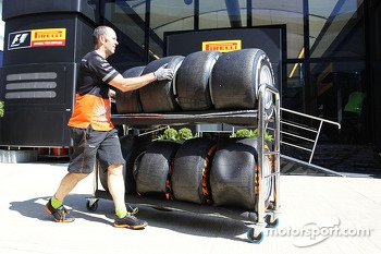 Used Pirelli tyres returned by the Sahara Force India F1 Team