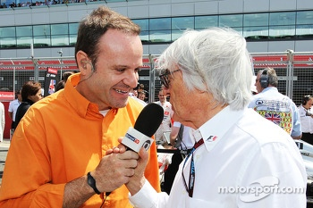 Rubens Barrichello with Bernie Ecclestone CEO Formula One Group on the grid