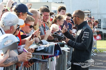 Lewis Hamilton Mercedes AMG F1 signs autographs for the fans at the post race concert