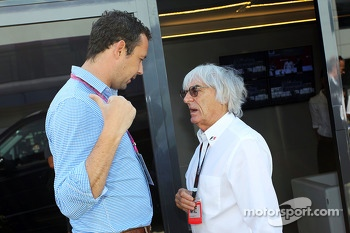 Scott Piecha Journalist with Bernie Ecclestone CEO Formula One Group British Grand Prix, Sunday