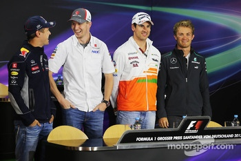 German drivers in the FIA Press Conference: Sebastian Vettel, Red Bull Racing; Nico Hulkenberg, Sauber; Adrian Sutil, Sahara Force India F1; Nico Rosberg, Mercedes AMG F2