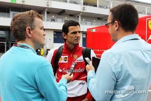 Pedro de la Rosa, Ferrari Development Driver and GPDA Chairman with Ian Parkes, Press Association Journalist, and Jonathan Noble, Autosport Journalist