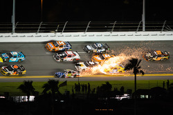 Travis Pastrana crashes in front of Cole Whitt