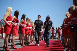 (L to R): Romain Grosjean, Lotus F1 Team and Daniel Ricciardo, Scuderia Toro Rosso on the drivers parade