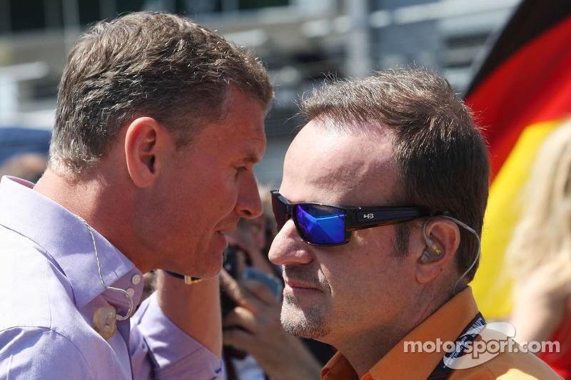 (L to R): David Coulthard, Red Bull Racing and Scuderia Toro Advisor / BBC Television Commentator with Rubens Barrichello