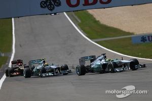 Nico Rosberg, Mercedes AMG F1 W04 leads Lewis Hamilton, Mercedes AMG F1 W04
