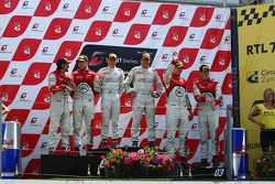 The podium: winners Maximilian Buhk, Alon Day, second place Stéphane Ortelli, Laurens Vanthoor, third place Frank Stippler, Edward Sandström