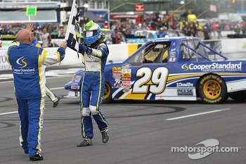 Race winner Ryan Blaney celebrates