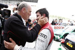 Dr. Wolfgang Ullrich, head of Audi Sport, race winner Mike Rockenfeller